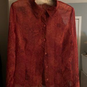 Vintage orange chiffon blouse in paisley pattern